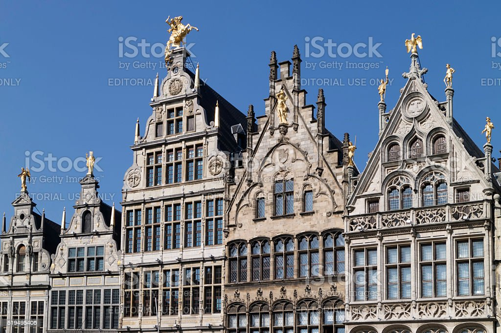 Belgium, Antwerp, March 17, 2016, Row of historical Flemish guil stock photo