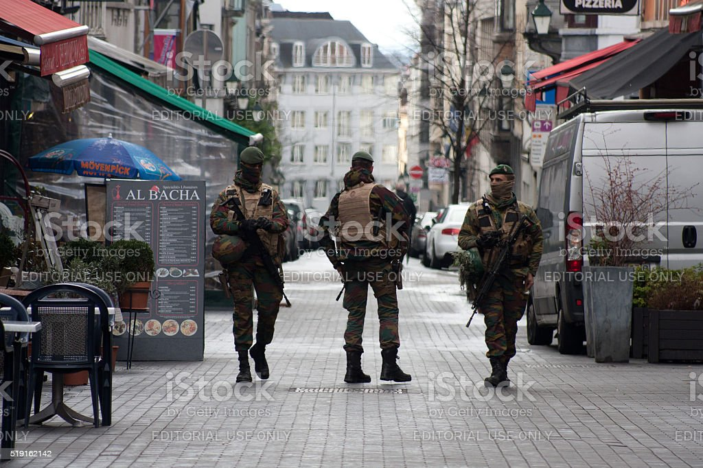 Belgium army patrol in Brussels stock photo