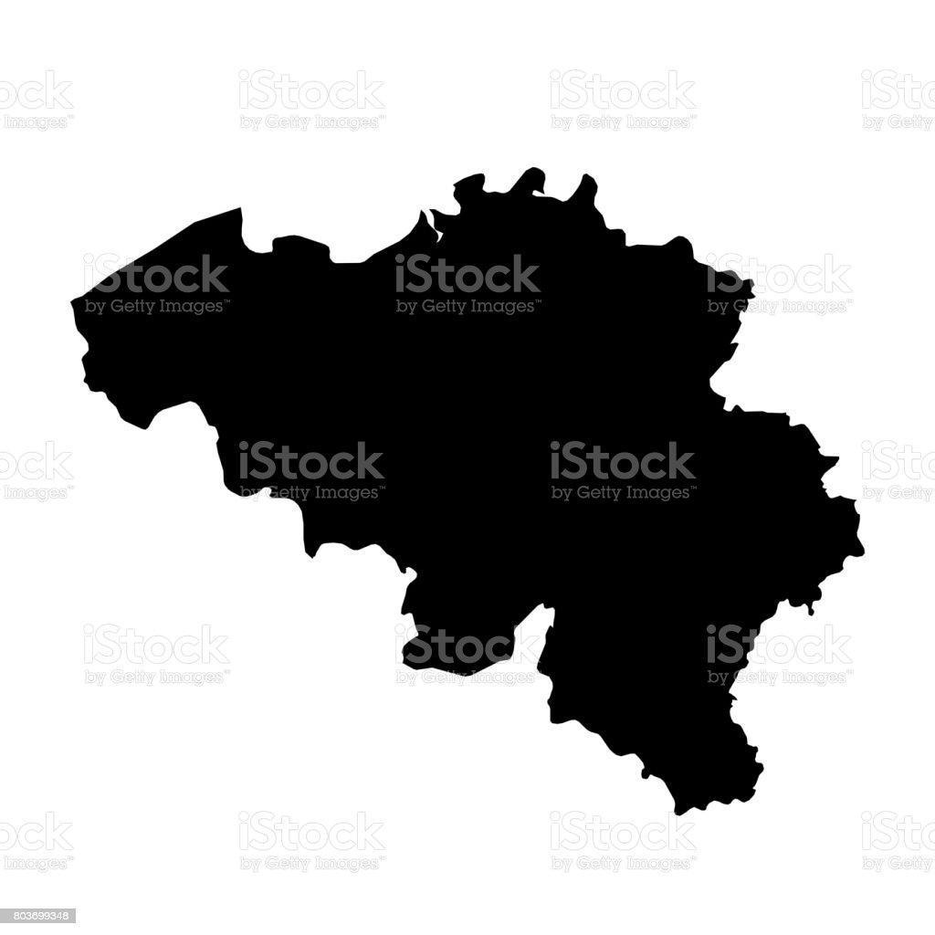 Belgien Karte Umriss.Belgien Die Schwarze Silhouette Karte Umriss Auf Weißen 3d