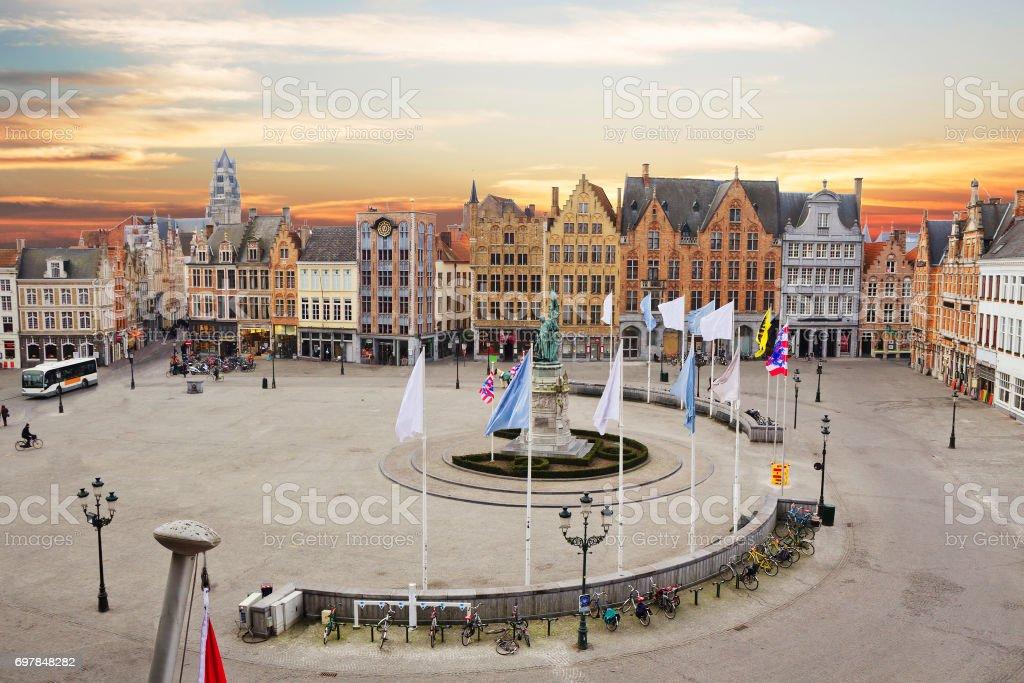 Belgium. Bruges. Market square stock photo