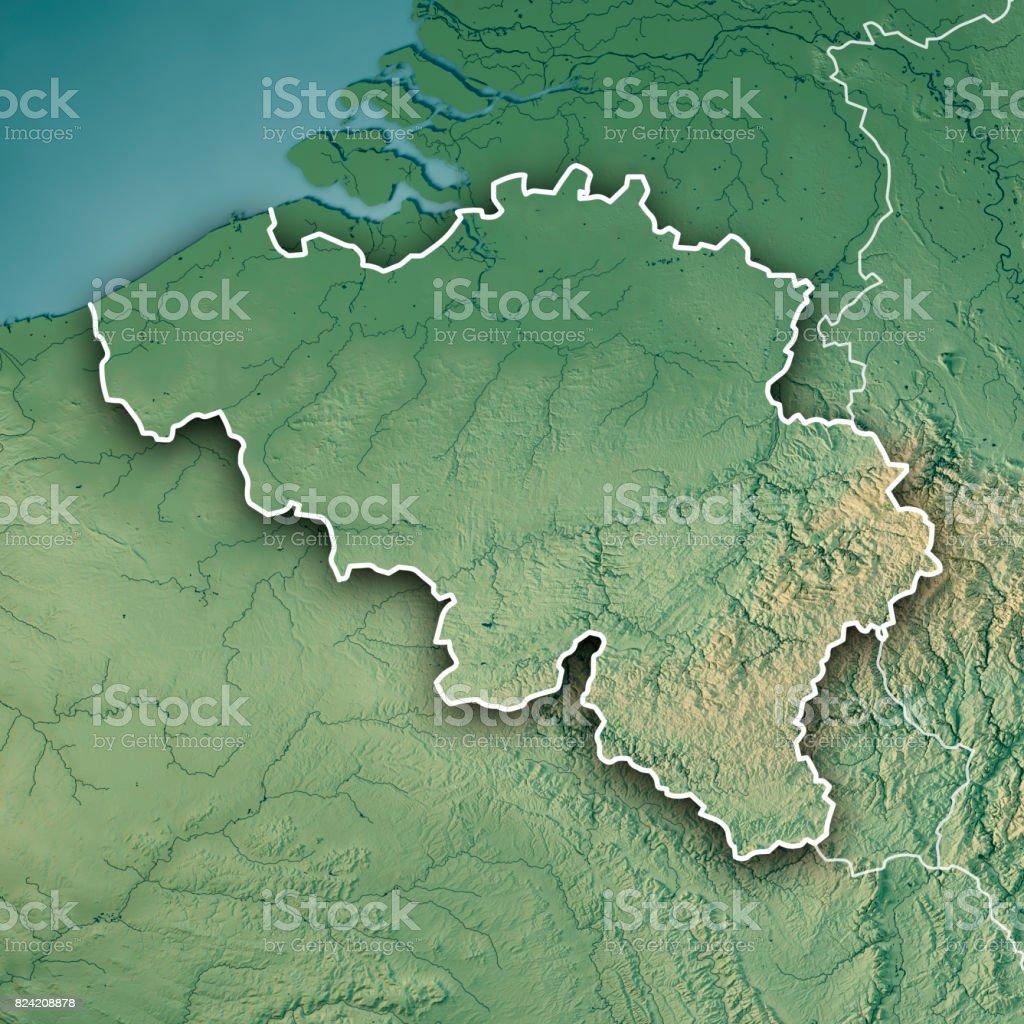 Belgium Topographic Map.Belgium Country 3d Render Topographic Map Border Stock Photo More