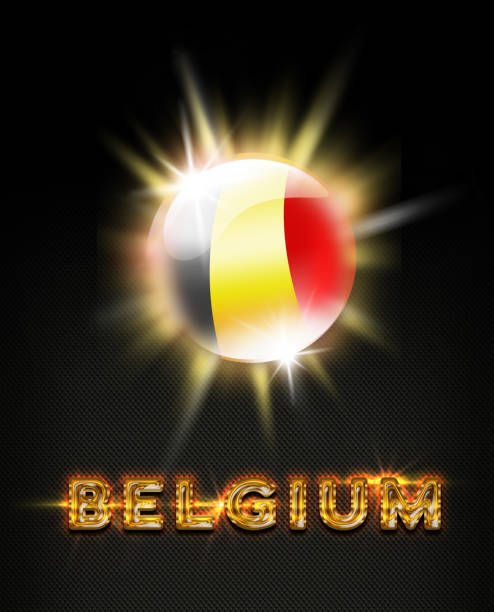 Belgium exploding button with belgian flag and name stock photo