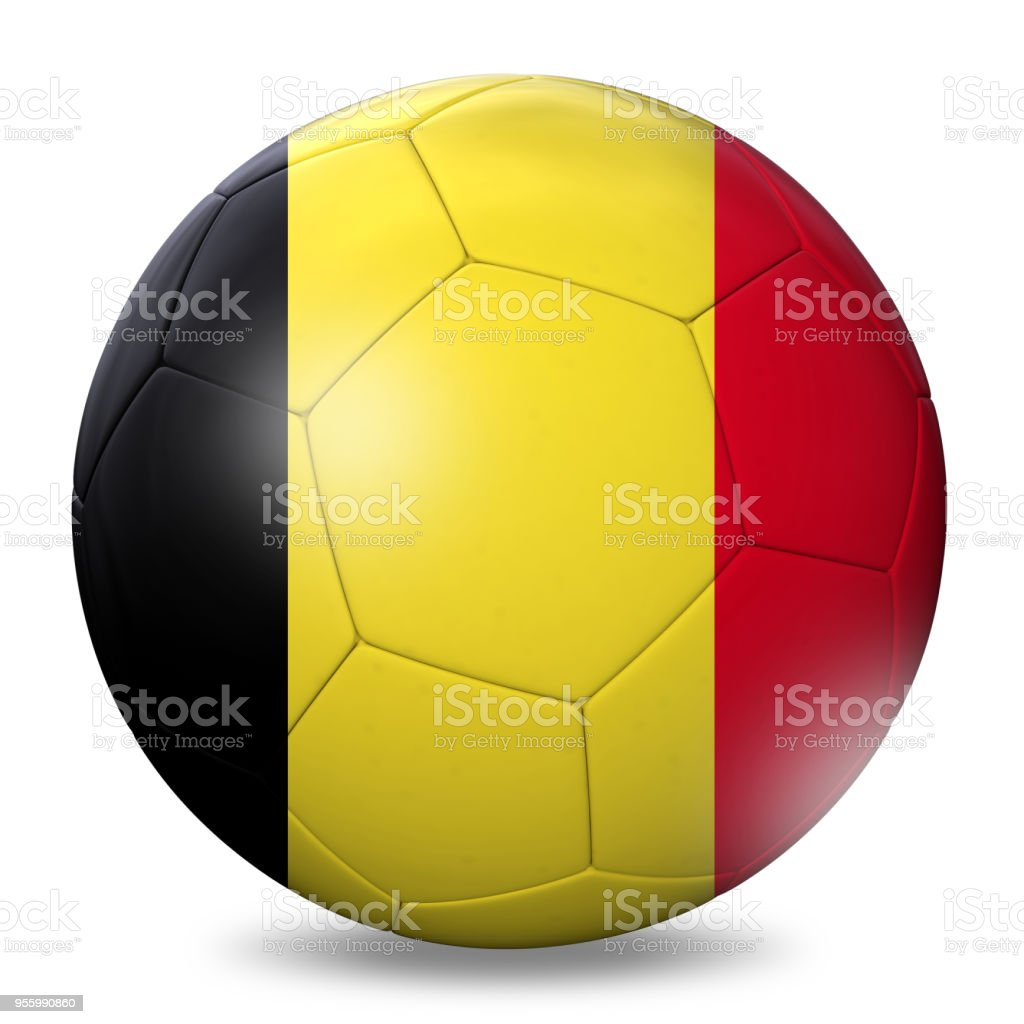 Belgium flag football soccer ball stock photo