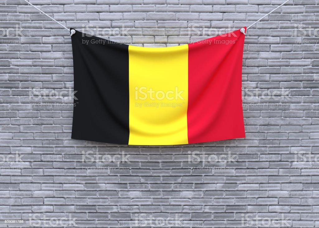 Bandeira da Bélgica na parede de tijolo. - foto de acervo