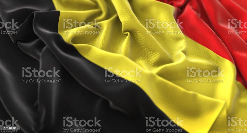 Bandera de Bélgica con volantes agitando muy bien toma de primer plano Macro - foto de stock