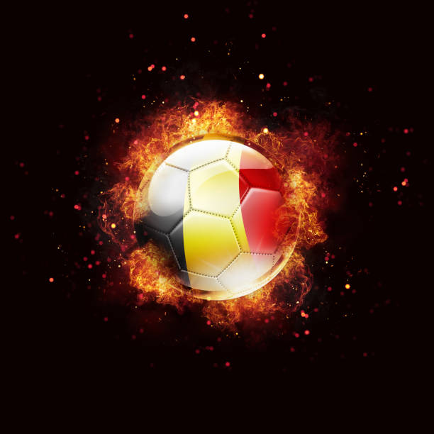 Belgium flag soccer ball with flames and fire isolated on black stock photo