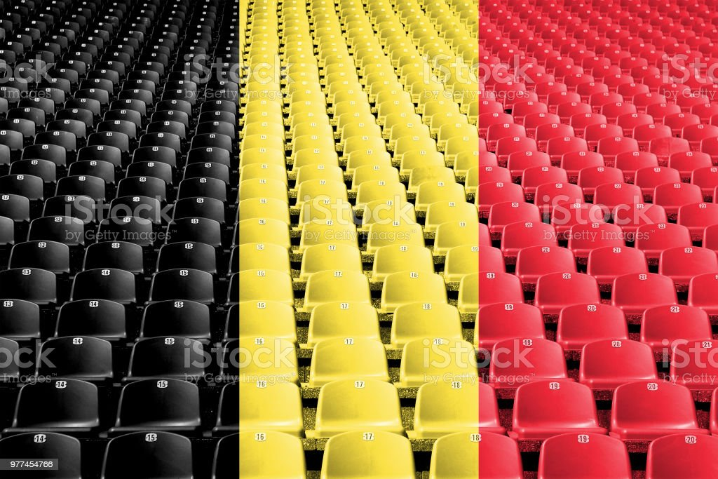 Belgium flag stadium seats stock photo