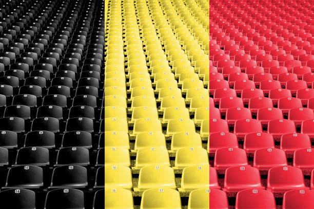 Belgium flag stadium seats stock photo