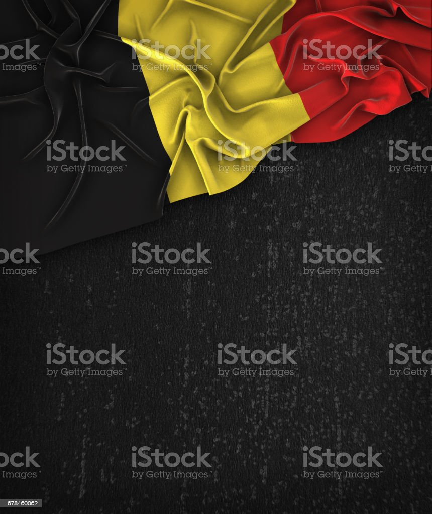 Belgium Flag Vintage on a Grunge Black Chalkboard With Space For Text royalty-free stock photo
