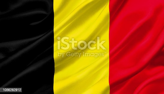 1056280906 istock photo Belgium flag waving with the wind, 3D illustration. 1056262912