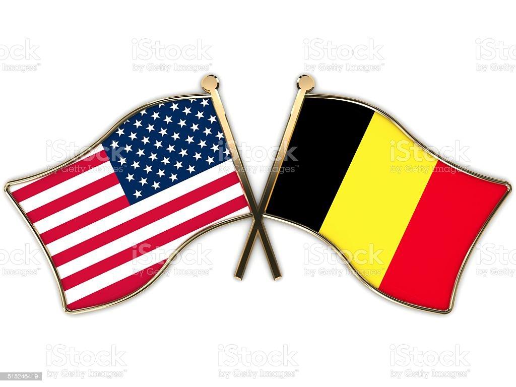 USA Belgium Flags Badge stock photo