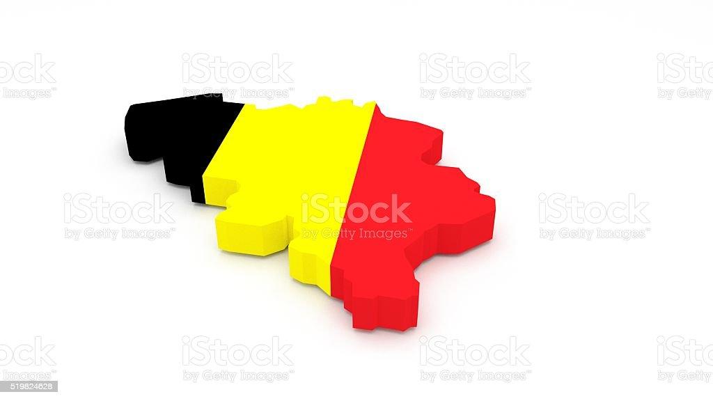 Belgium map 3D stock photo