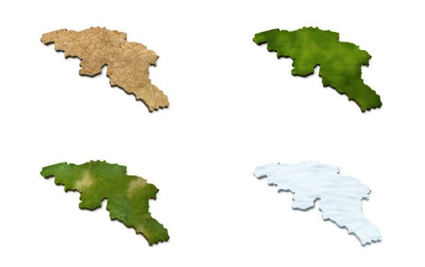 3D Belgium Map stock photo