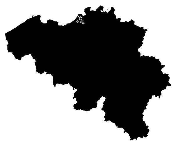 Belgium Map Silhoette Outline Borders on White Background stock photo