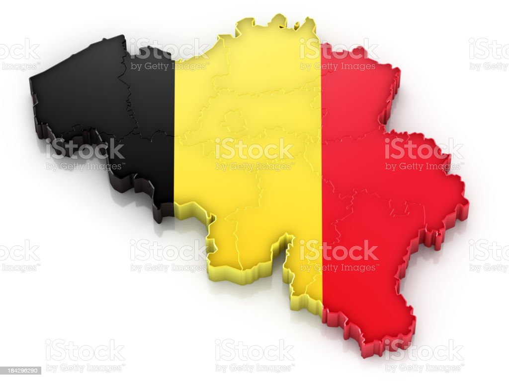 Belgium map with flag royalty-free stock photo