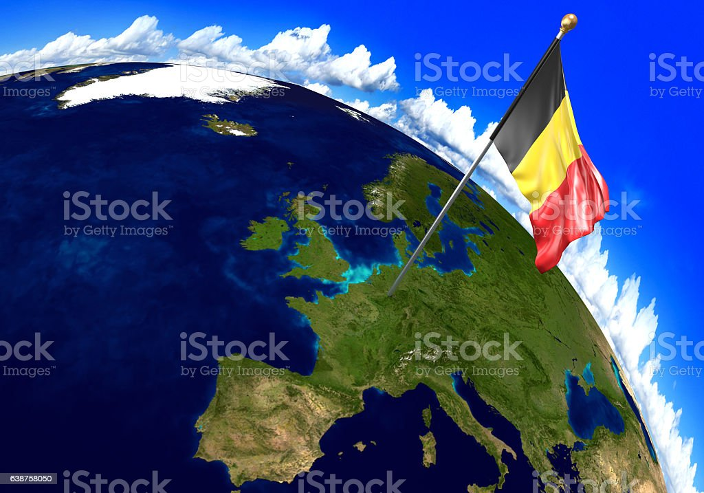 belgium national flag marking the country location on world map royalty free stock photo