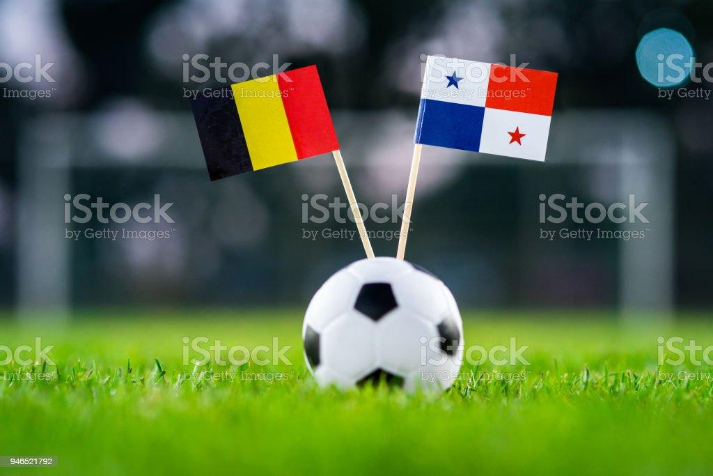 Belgique - Panama, groupe G, lundi, 18. Juin, Football, coupe du monde, la Russie 2018, drapeaux nationaux sur l'herbe verte, blanche ballon de football sur terrain. - Photo
