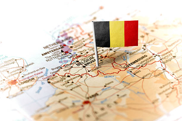 Belgium pinned on the map with flag - Photo
