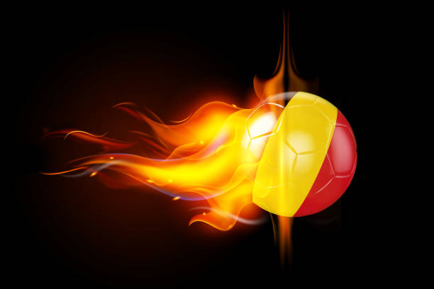 Belgium Soccer Ball is Burning in Flames on Black stock photo