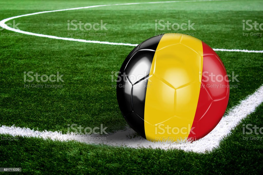 Belgium Soccer Ball on Corner of Field at Night stock photo