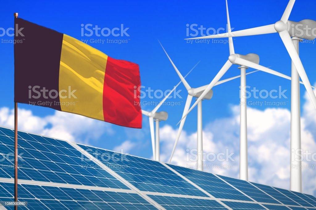 Belgium solar and wind energy, renewable energy concept with...