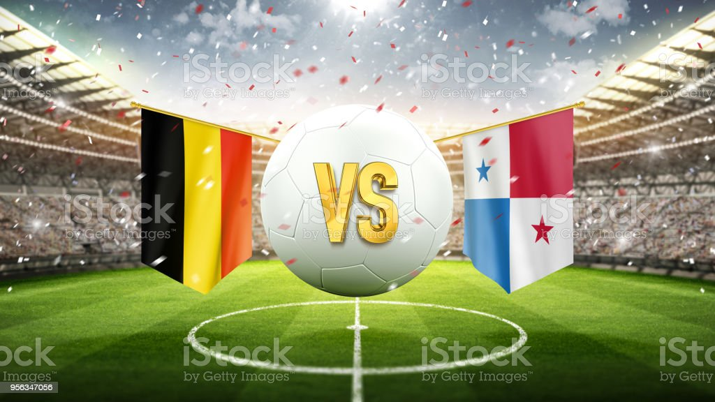 b47b5cb72 Belgium vs Panama. Soccer concept. White soccer ball with the flag in the  stadium
