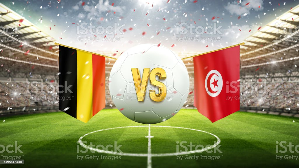 Belgium Vs Tunisia Soccer Concept White Soccer Ball With The Flag In The Stadium