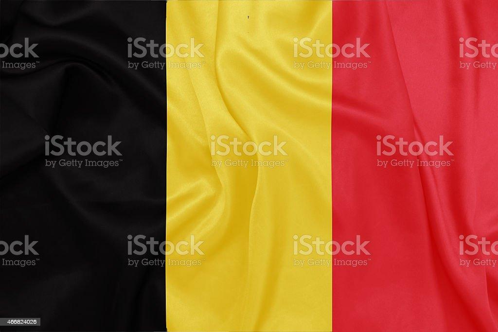 Bélgica-acenando a bandeira nacional de textura de seda - foto de acervo