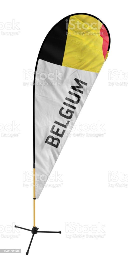Drapeau du pays de la Belgique et le nom sur une bannière de plume / chou drapeau - Photo