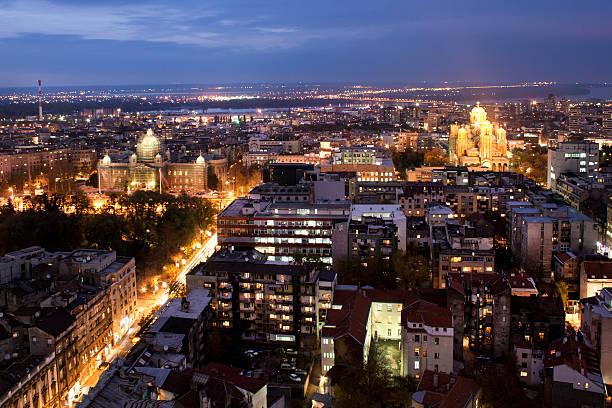 belgrade at night - belgrade serbia stock photos and pictures