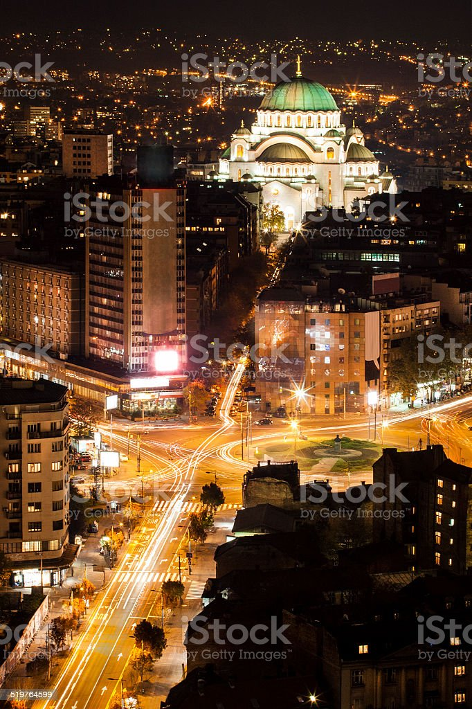 Belgrade at night stock photo