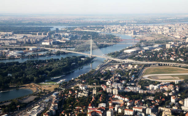 belgrade bridge - belgrade serbia stock photos and pictures