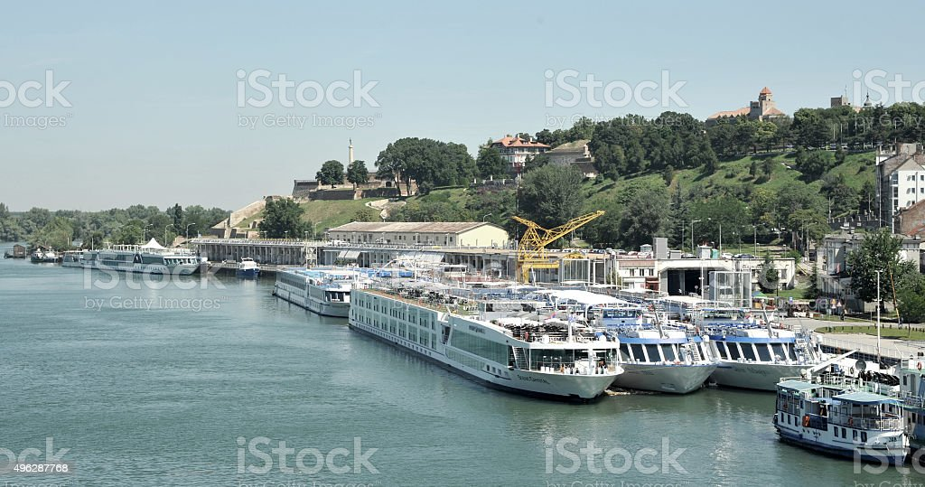 Belgrade City, capitol of Serbia, over the Sava river stock photo