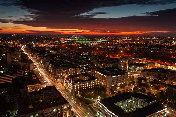 Belgrade cityscape at sunset Rooftop panoramic view of sunset in Belgrade, Serbia belgrade serbia stock pictures, royalty-free photos & images