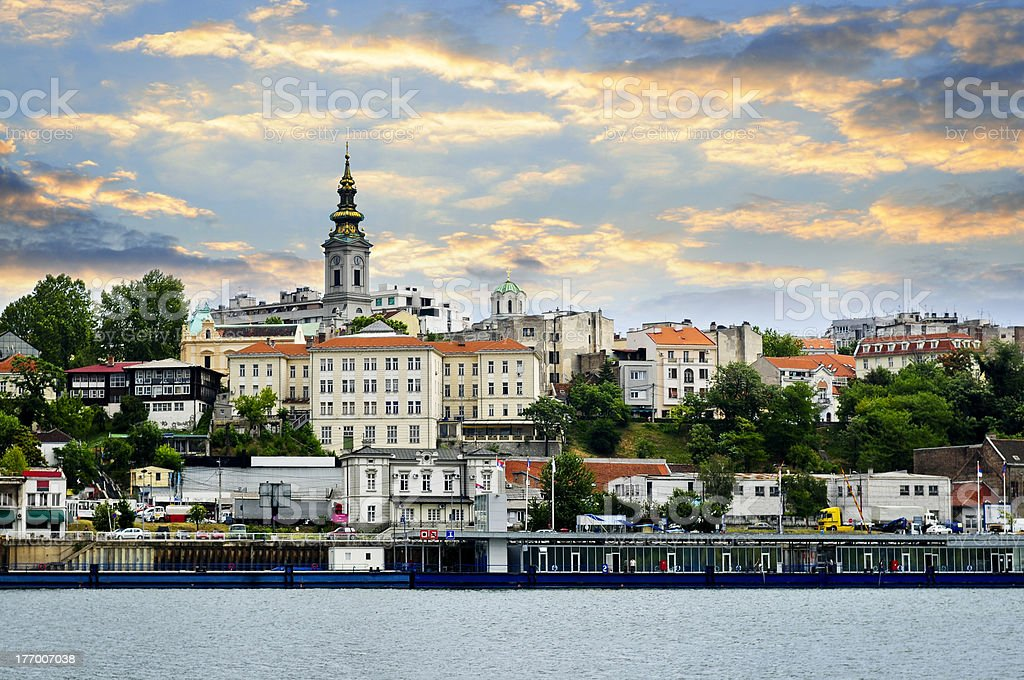 Belgrade cityscape on Danube stock photo