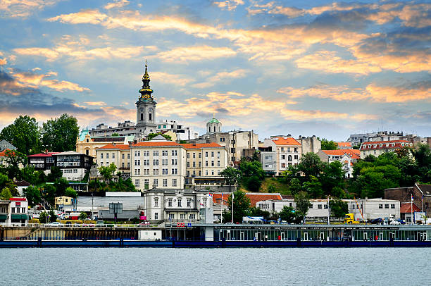 Belgrade cityscape on Danube View of Belgrade city from Danube river serbia stock pictures, royalty-free photos & images