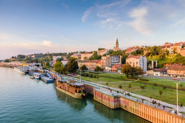 Belgrade cityscape Belgrade, Serbia - September 24, 2016: Belgrade cityscape from the Sava river in Serbia, sunset view belgrade serbia stock pictures, royalty-free photos & images