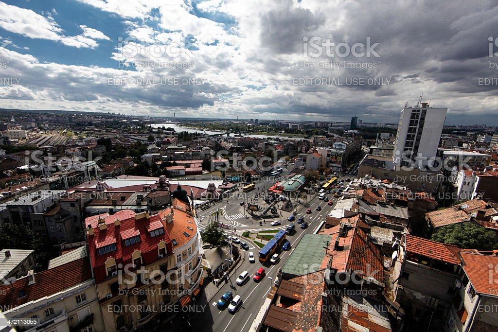 Belgrade downtown aerial view stock photo