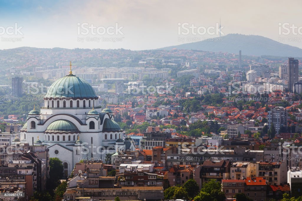 Belgrade downtown skyline with temple of Saint Sava and Avala tower stock photo