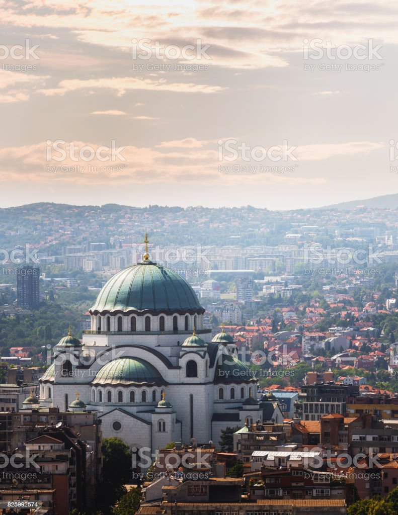 Belgrade downtown skyline with temple of Saint Sava stock photo