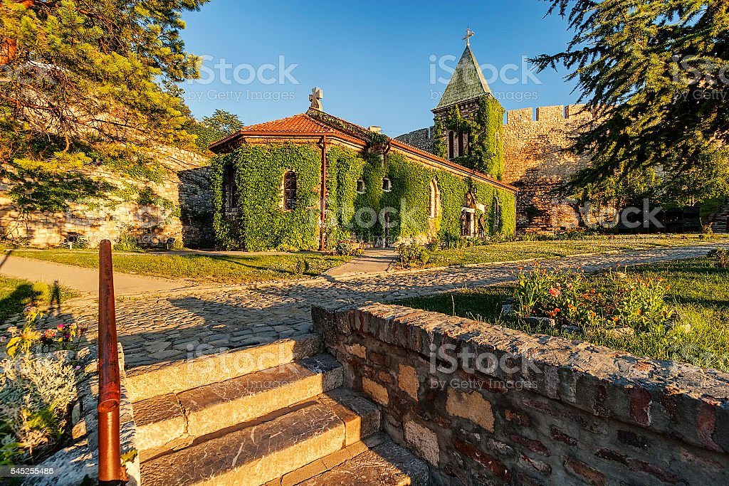 Belgrade fortress and church with garden stock photo