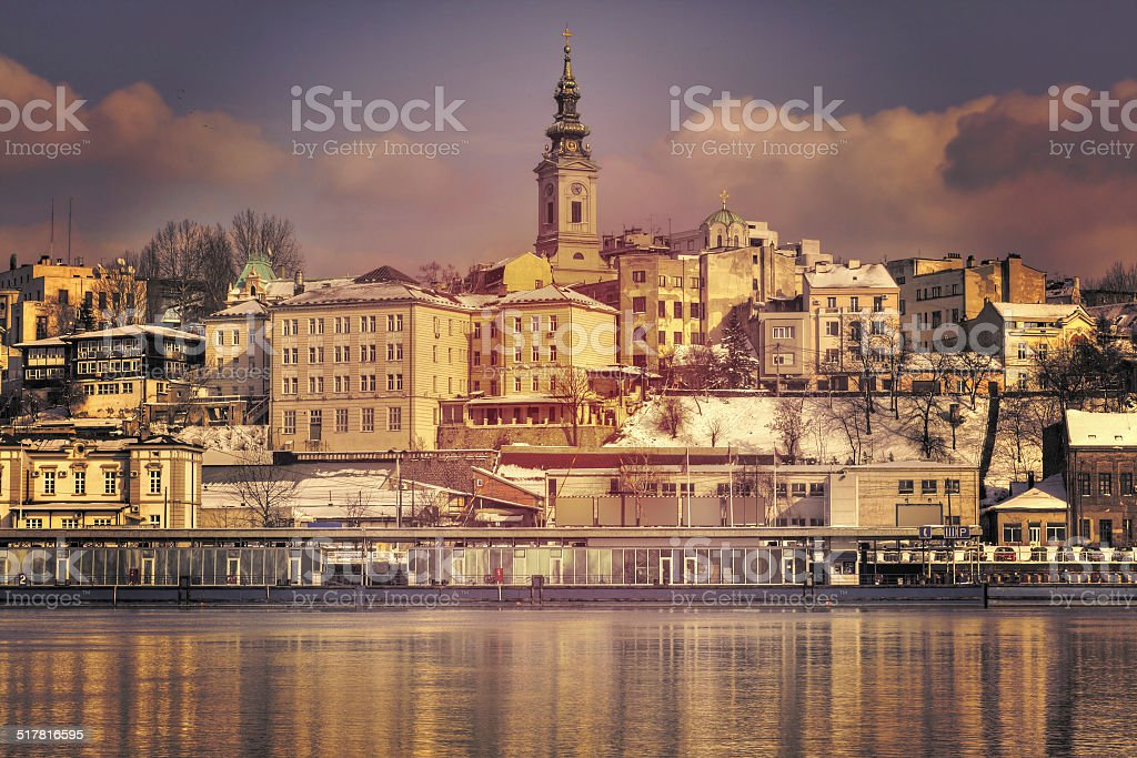 Belgrade from the river Sava stock photo