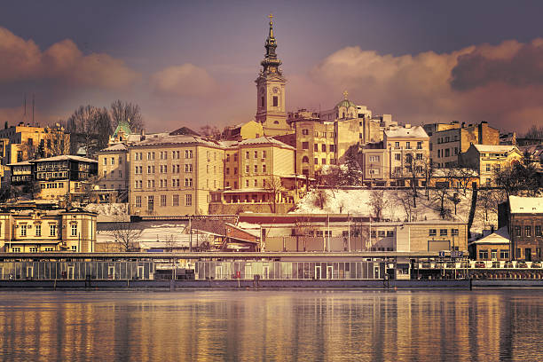 belgrade from the river sava - belgrade serbia stock photos and pictures