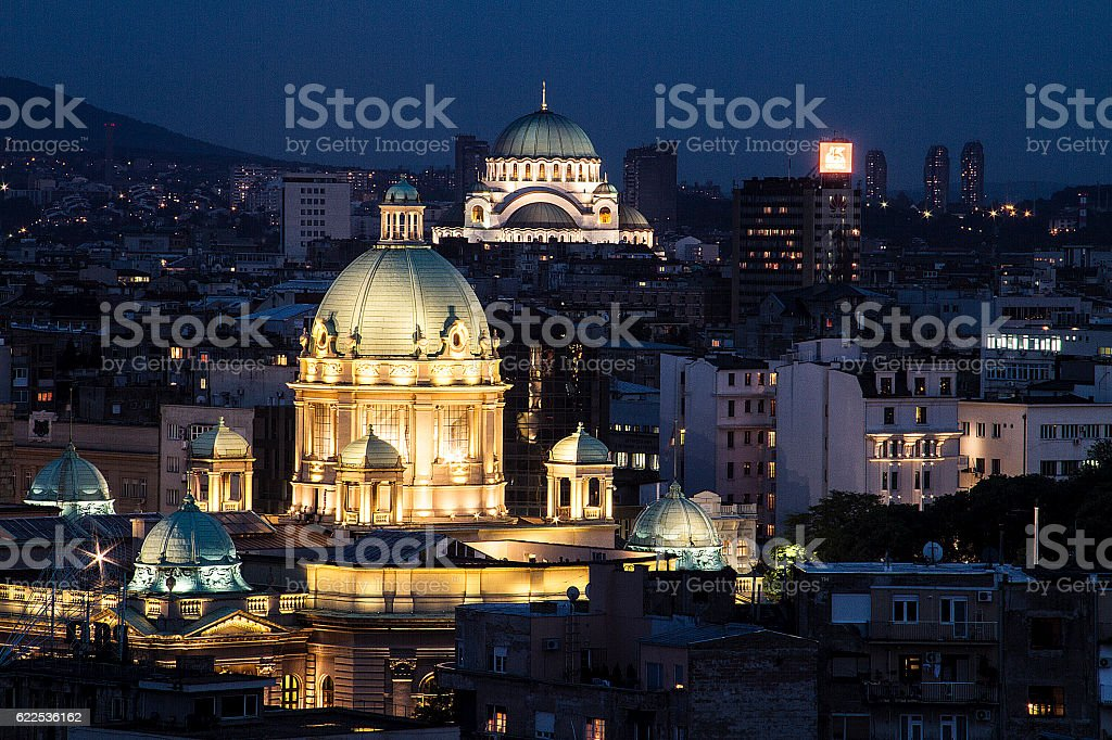 Belgrade night stock photo