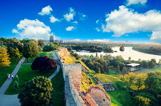 Belgrade panorama View of New Belgrade from Kalemegdan serbia stock pictures, royalty-free photos & images