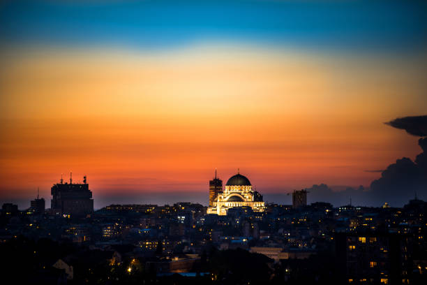 Belgrade panorama with temple of Saint Sava Belgrade panorama with temple of Saint Sava belgrade serbia stock pictures, royalty-free photos & images