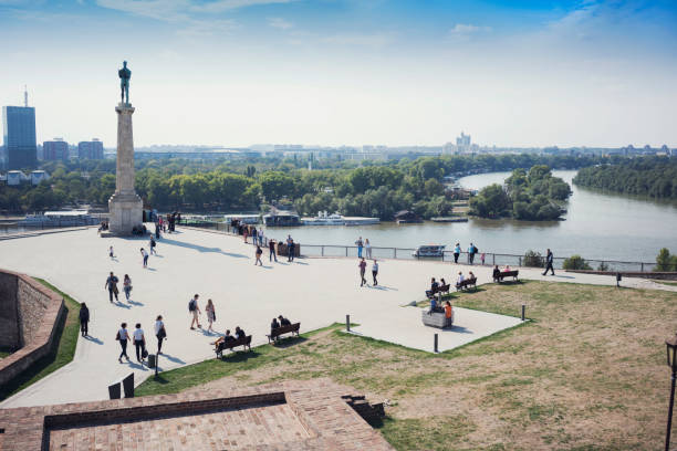 Belgrade View from Belgrade fortress Kalemegdan to the delta of Danube and Sava belgrade serbia stock pictures, royalty-free photos & images