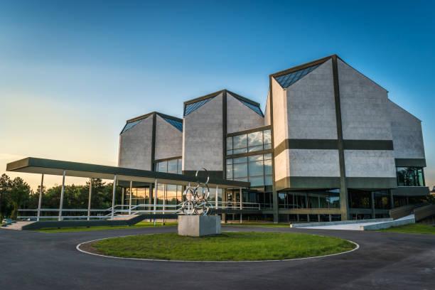 Belgrade, Serbia - 10.19.2018 : Museum of Contemporary Art at Sunset stock photo
