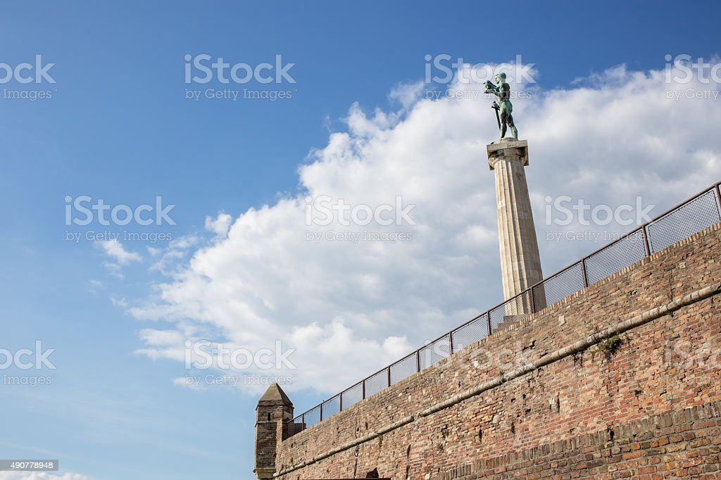 Belgrade - Serbia - Pobednik (The Victor) monument in the Kalemegdan fortress stock photo