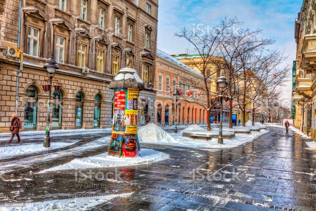 Belgrad Winter Knez Straße – Foto
